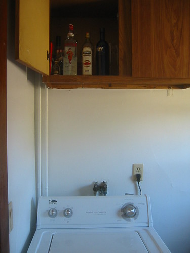 Washing machine vs. liquor cabinet