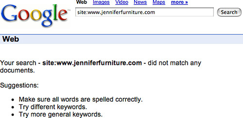 Jennifer Convertibles Web Site Delisted From Google