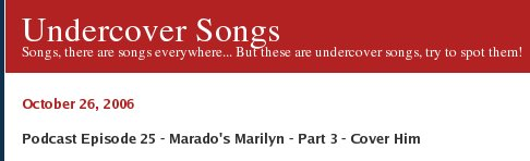 Undercover Songs - Podcast Episode 25 - Marado's Marilyn - Part 3