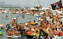 Boat rave, waterfront, Chicago