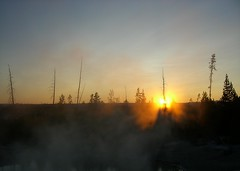 Sunset over some geysers