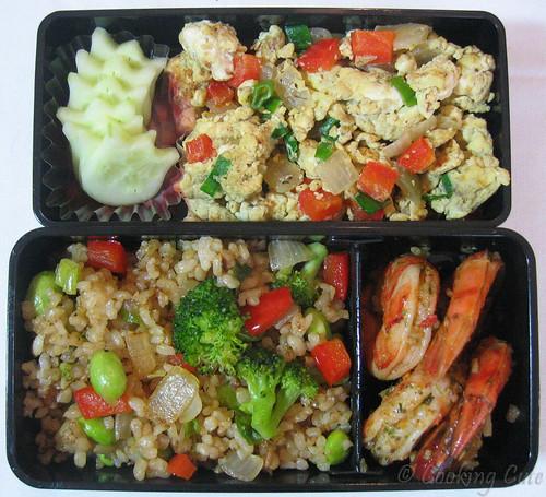 [bento with veggies, fried rice, shrimp, tofu-egg scramble]
