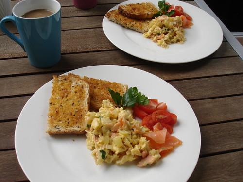 Sunday brunch - smoked salmon scrambled eggs