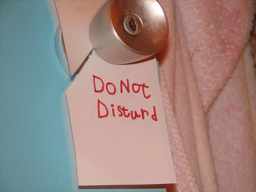 sign found on the bathroom door: DO NOT DISTURD
