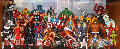 A Shelf of Marvel Legends Action Figures