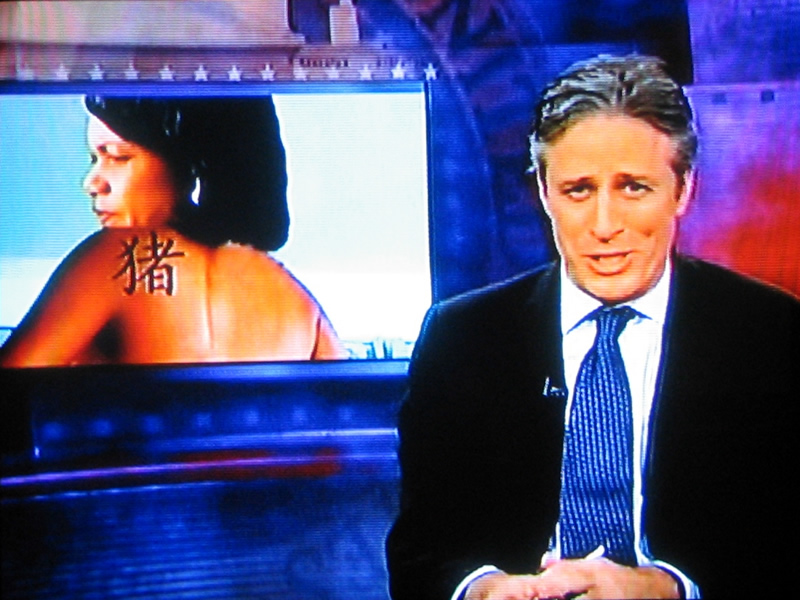 Jon Stewart makes fun of Condoleezza Rice's tattoo