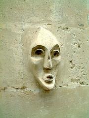 塞納河路某轉角牆面上的立體人臉