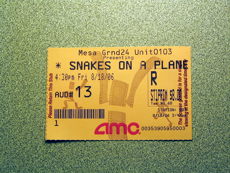 Snakes on a Plane - ticket stub
