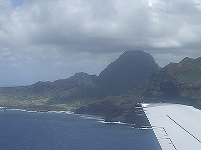 Approaching Lihue Airport on the Hawaiian Island of Kauai