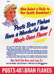 50's Post Bran Flakes cereal box