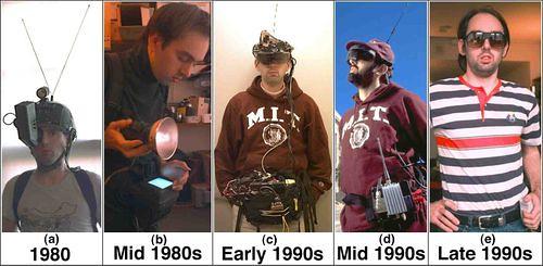 Fotografía de la Wikipedia de la evolución de los distintos modelos de EyeTap de Steve Mann