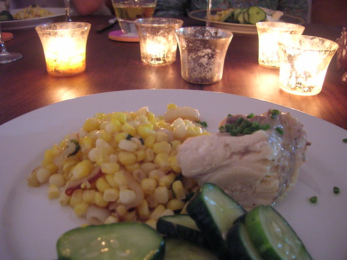 poached monkfish, corn & onions, cucumber salad