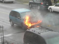 Minivan on fire