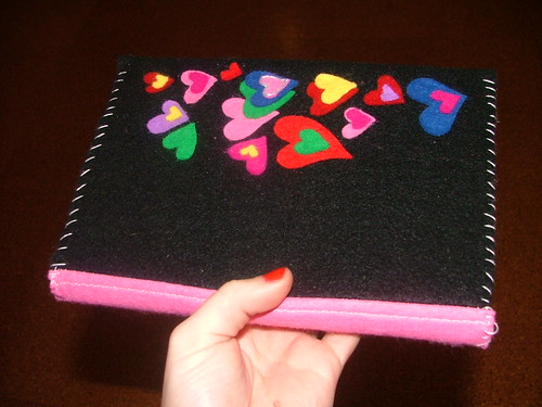 Book Cover Craft S : Handmade hearts journal book cover in pink black paper