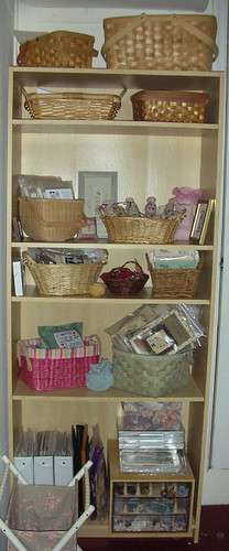 shelving unit with stitching stuff