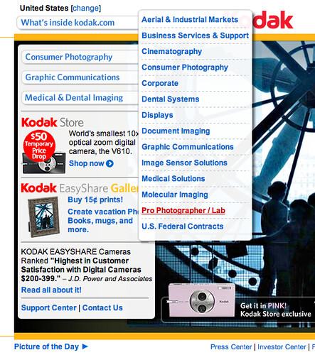 Kodak US website flyout