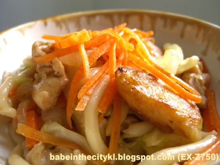 stir fried udon wid fish slices
