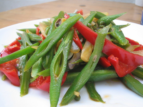 stir fried runner beans with soy sauce