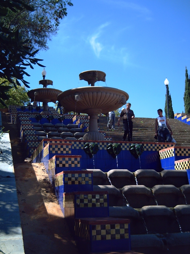 Fountains and Staircase at Montjuic in Barcelona, Spain