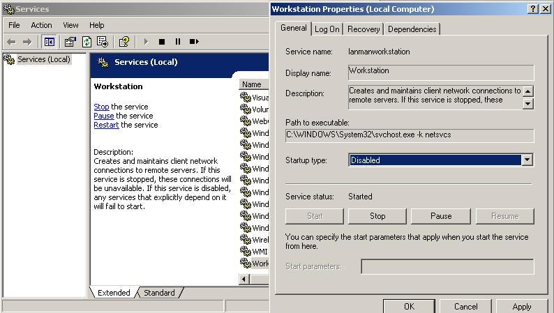 digest restart disabled windows services