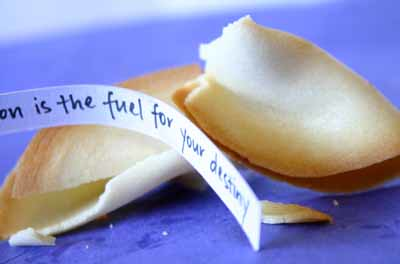 Opened fortune cookie