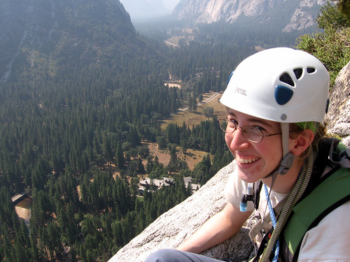 Katrina enjoying the view of the Ahwahnee Hotel from pitch 9, Royal Arches