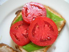 Mozzarella, Basil, Tomato sandwich