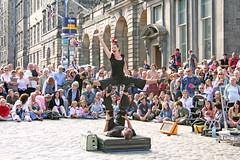 Strong Man Circus Show for Festival Fringe on Edinburgh's Royal Mile