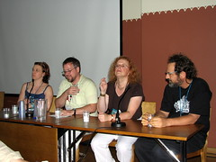Justina Robson, Jeff VanderMeer, Cheryl Morgan and Stepan Chapman sitting on a panel