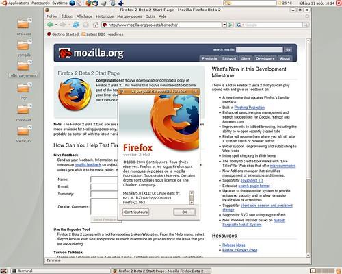 Firefox 2.0 béta2 sous Ubuntu Linux