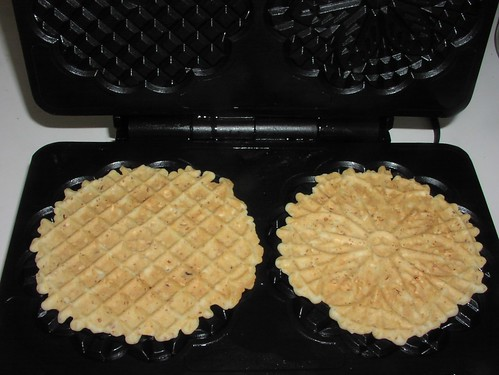 Cooked almond pizzelles