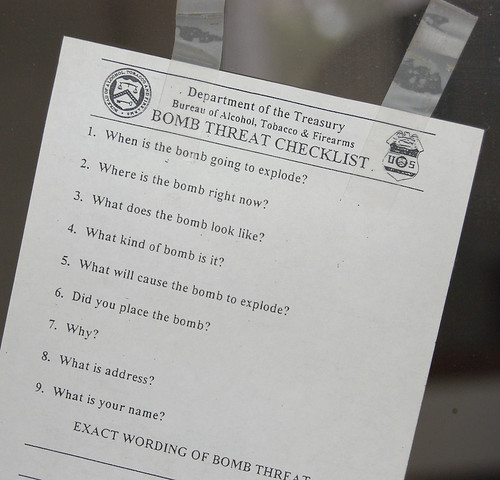 bomb threat checklist