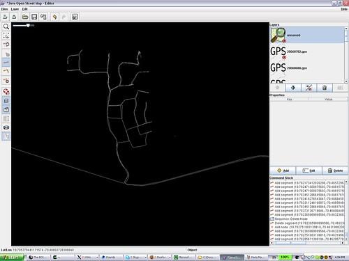 Perla Marina GPS traces in JOSM