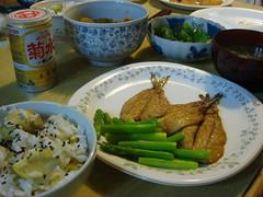 鰯の蒲焼と栗御飯