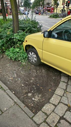 Grünfläche ist Parkplatz in Hamburg Sankt Georg