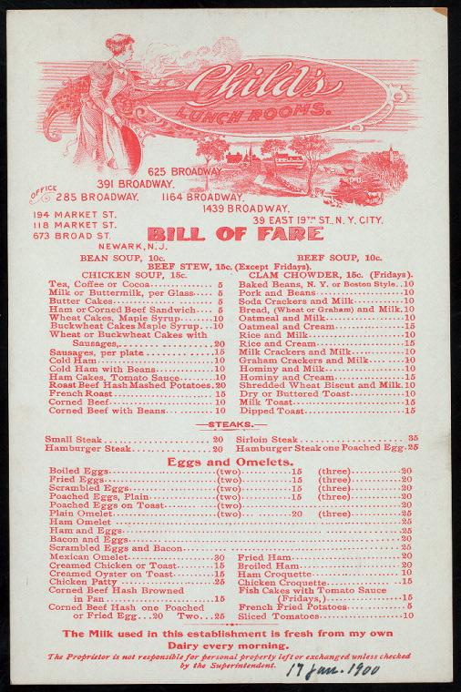 menu childs lunchroom 1900