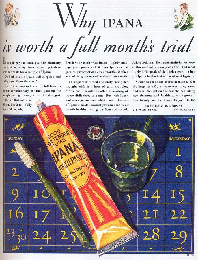 Art Deco: Ipana Toothpaste ad, 1928