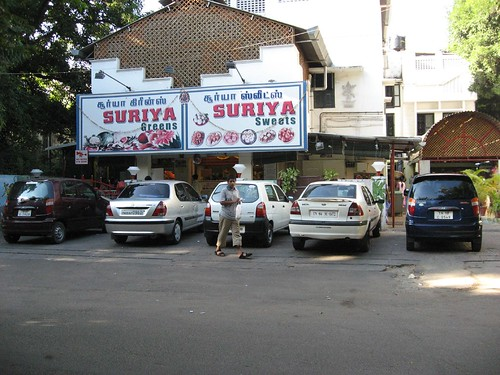 Limited parking for Suriya Sweets.. is always full..