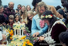 Nancy Littleriver and Sunshine cut their wedding cake in May 1977 photo by NWilson
