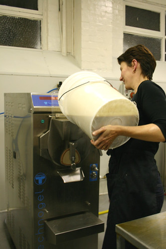 Pouring the ice cream