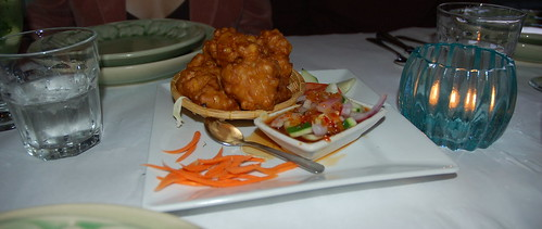 Fried sweet corn patties (Vegetarian) crispy corn spice with curry paste served with cucumber salad