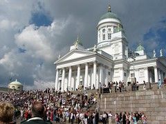 Helsinki Cathederal, with lots of people standing on the stairs