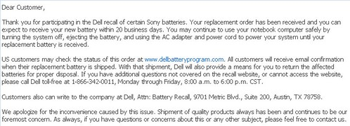 Dell Battery Recall