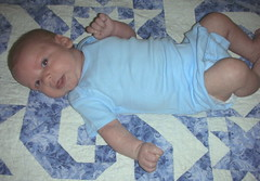 A little smile!  My sweet baby, seven weeks!