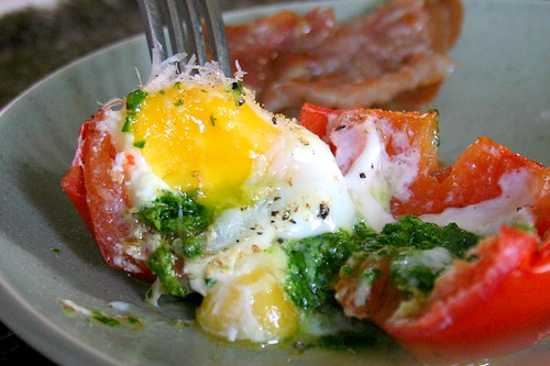 romaine pesto and egg-stuffed tomatoes