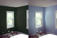 The bedroom, before and after