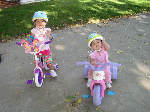 Little ladies on bikes