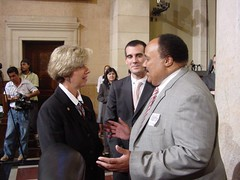 Janice Hahn, Eric Garcetti and Martin Luther King III