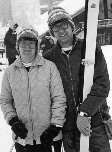Ann & I skiing