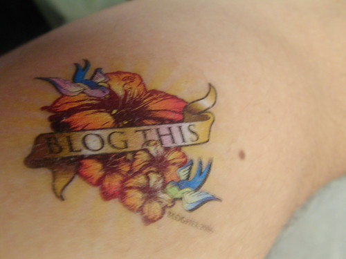 Someone gave me their BlogHer wipe on tat...